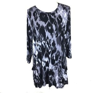 logo smeared leopard multi gray pocket tunic m